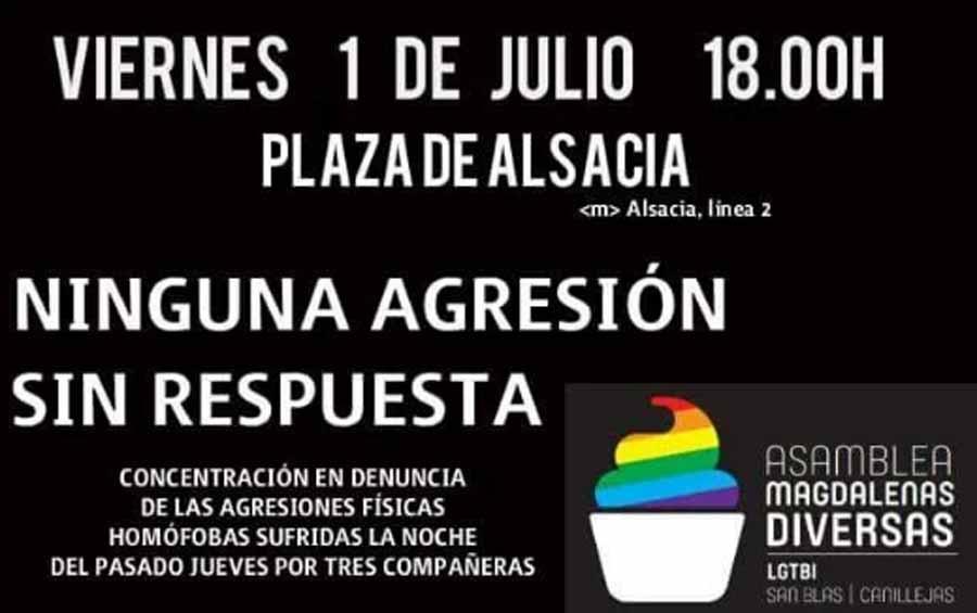 """Convocada una concentración en Madrid bajo el lema """"Ninguna agresión sin respuesta"""" contra la LGBTIfóbia"""