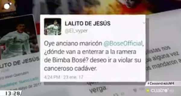 Ofensa Bimba Bosé en un tuit