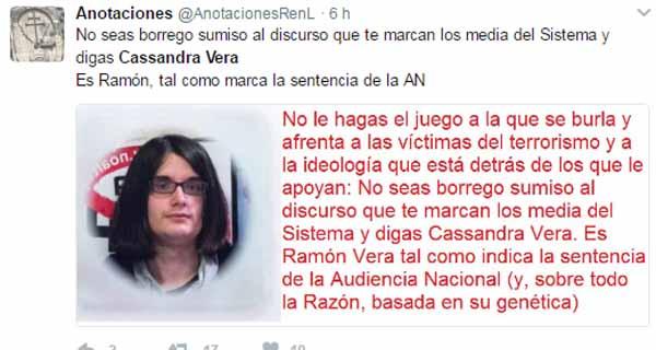 Ofensas a la tuitera trans Cassandra Vera