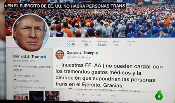 Tuit de Trump prohibiendo a trans servir ejército