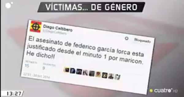 Tuit que justifica el asesinato de García Lorca