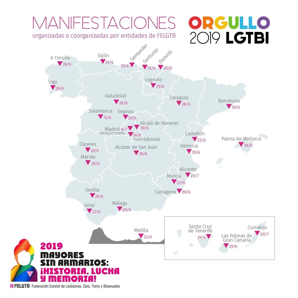 Estas son las acciones para conmemorar el Orgullo LGTBI